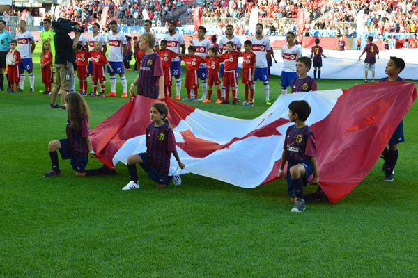 Caledon Soccer at TFC 2016 (Canadian flag bearers)